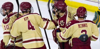 The Boston College Eagles defeated the University of Vermont Catamounts 4-1 on Thursday, November 8, 2018, at Kelley Rink in Conte Forum in Chestnut Hill, Massachusetts. (Melissa Wade)