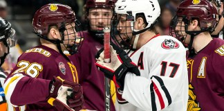Jade Miller (Minnesota-Duluth-26) Jacob Benson (SCSU-17) Billy Exell (Minnesota-Duluth-16) 2019 March 23 University of Minnesota Duluth and St. Cloud State University meet in the championship game of the NCHC Frozen Face Off at the Xcel Energy Center in St. Paul, MN (Bradley K. Olson)