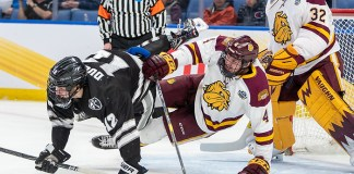 Jack Dugan (12 - Providence), Dylan Samberg (4 - Minnesota Duluth) (2019 Omar Phillips)