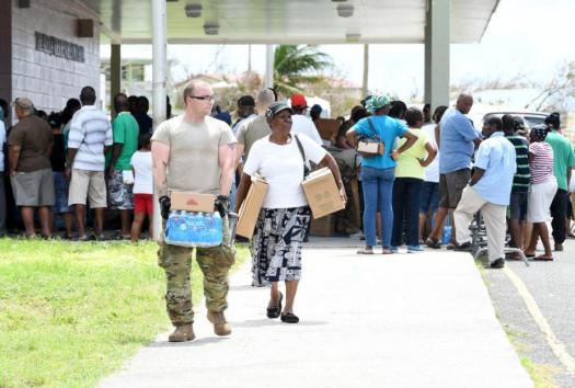 Food and water distribution in St. Croix.