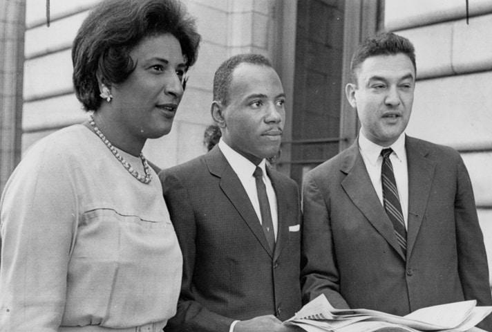 Constance Baker Motley with James Meredith and lawyer Jack Greenberg after a 1962 appellate court hearing in New Orleans.