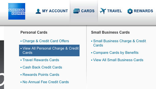 A new method to get amex best offers the chinese website method choose view all personal charge credit cards option at the top you might see big amex offers in the new page colourmoves Gallery