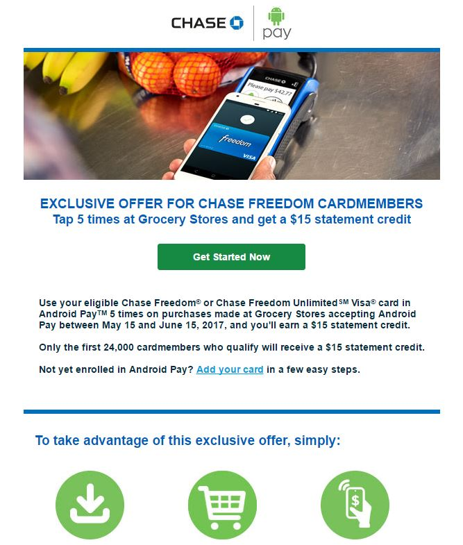 Chase Freedom and Freedom Unlimited: Get $15 By Using