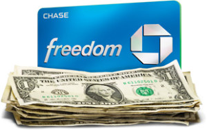 Chase Freedom Credit card open card sent to 0, quarter 5x, no annual fee]