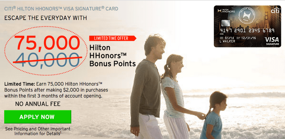 """2016.2 update"" no annual fee Citi Hilton credit card limits card rewarding promoted to 75K (record)!"