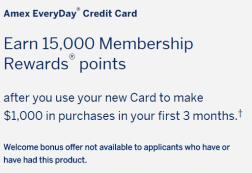 AMEX Everyday Card (ED) credit card [8/7 Update: Consumer send additional 10k / 12.5k MR, ymmv]