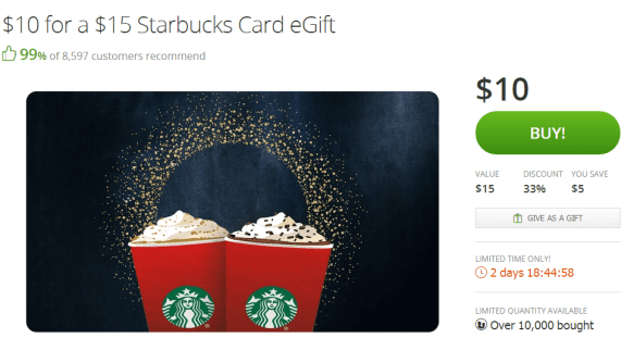 【已过期】Groupon Starbucks Gift Card for