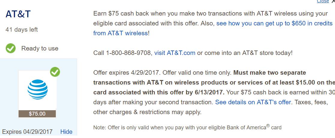 BOA Cashback Deals 使用指南【3/19更新:ATT付款白赚】