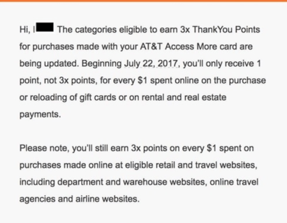 Citi AT&T Access More信用卡【8/24更新:3x返点限制并未完全生效】