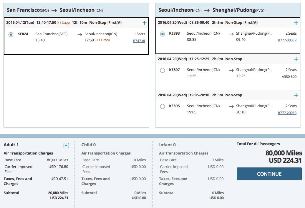 大韩航空里程介绍 (1) - 夏威夷神器,天合头等最佳兑换【12/30更新:天合伙伴网上兑换】