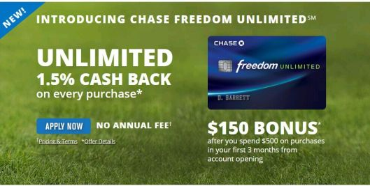 Chase Freedom Unlimited——所有1.5x【11/20更新:30k+2.5k店内offer】