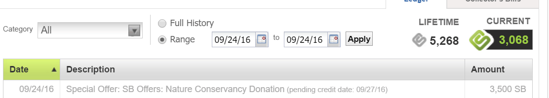 Swagbucks+NatureConservancy捐款=减税+倒赚【12/20更新:2750SB Offer,倒赚