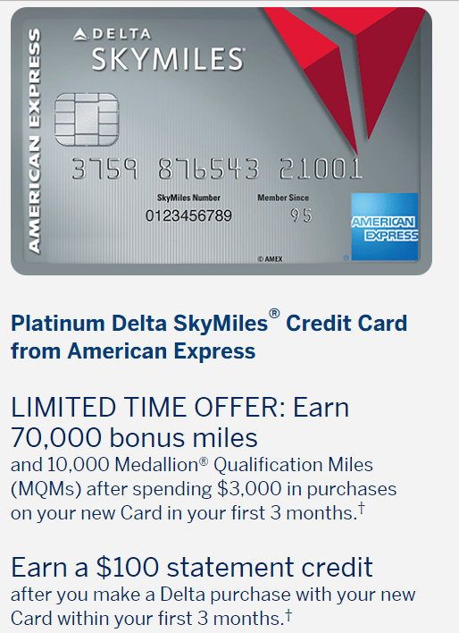 AMEX Platinum Delta SkyMiles 信用卡【2/1截止:史高70k+0+10kMQM+副卡送2500】