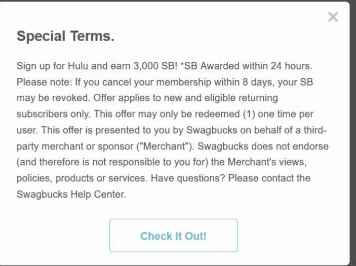 Swagbucks + Hulu subscription = + down to earn a free member [Update 8/25: history of high 3000SB, pour earned]