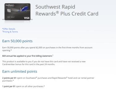 Chase Southwest Plus 信用卡【1/9更新:50k开卡奖励,同行票最佳时机】