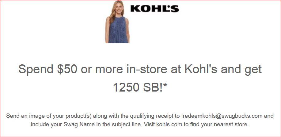 Swagbucks + Kohl's 实体店购买 = 1250 SB + 自己心仪的商品