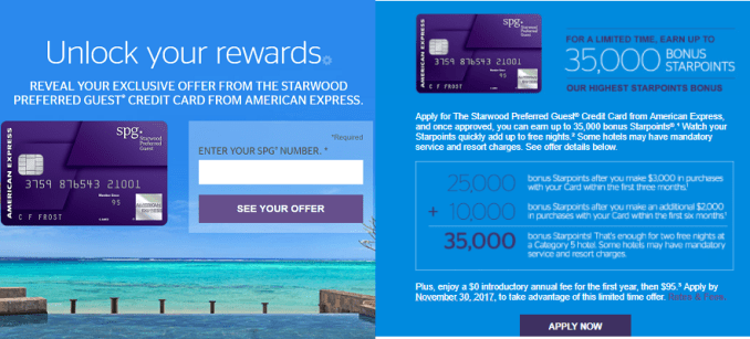 AMEX Starwood Preferred Guest 信用卡【10/13更新:35k target offer链接】
