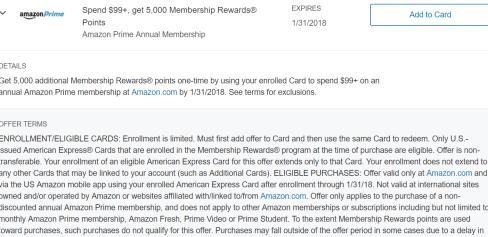 最新好AMEX Offer 汇总与使用【10/16更新:Amazon会员返5k MR玩法】