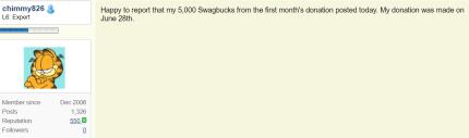 Swagbucks+ChildFund捐款=倒赚