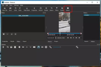 Export the video file on shotcut
