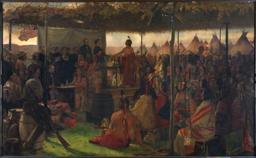 Treaty of Traverse des Sioux, painted for Minnesota State Capitol by Francis David Millet, 1905