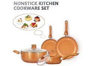 FRUITEAM 6-piece Nonstick Cookware Set