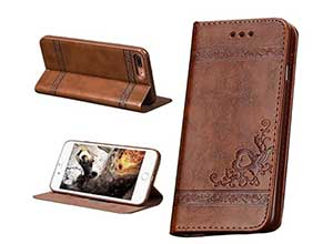 VIGOROSO Embossed Floral PU Leather Phone Case