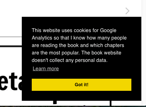 Screenshot of cookie notice popup reads: