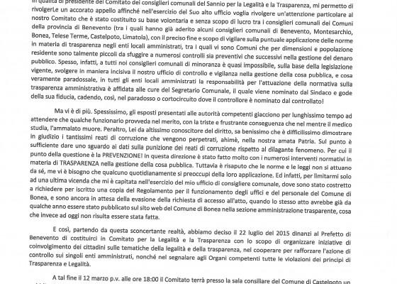 Missiva Presidende Raffaele Cantone
