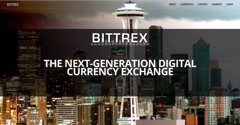Homepage of Bittrex exchange