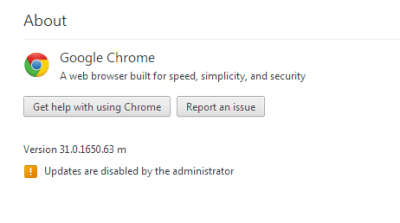 Google chrome updates are disabled by the administrator