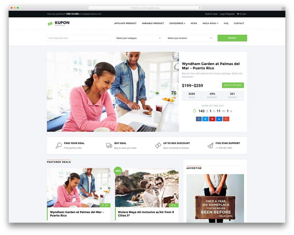 Deals and coupons WordPress theme