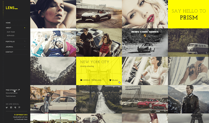 Lens portfolio WordPress theme