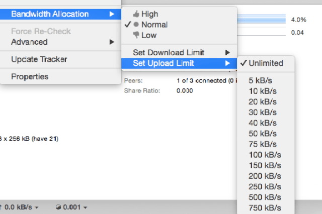 Limit your upload rate of torrent