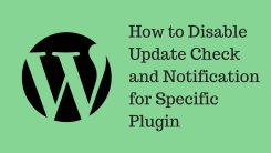 How to Disable Update Check and Notification for Specific Plugin