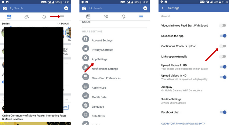 turn off contact sync Facebook