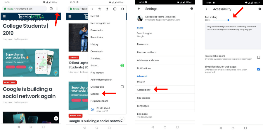 Increase Text Size in Chrome for Android