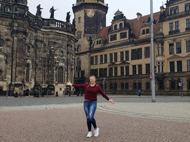 GCP student Krista Cummings in Dresden, Germany.