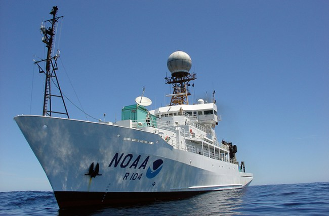 NOAA's R/V Ronald H. Brown will carry the Byrne crew, as well as 26 other scientists, for the West Coast Acidification 2021 cruise. Photo: NOAA.