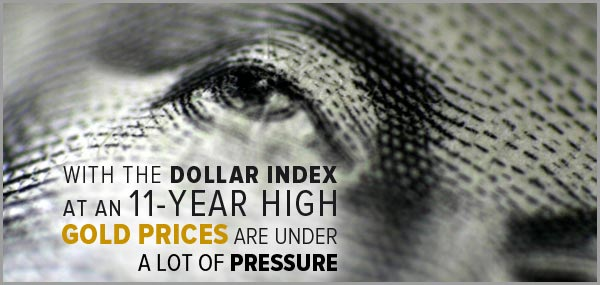 With the Dollar index at an 11-yeah high, gold prices are under a lot of pressure