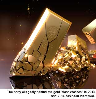 """The Partyallegedly behind the gold """"flash crashes"""" in 2013 and 2014 has been identified."""