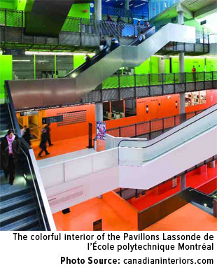 The colorful interior of the Pavillons Lassonde de I'Ecole polytechnique Montreal