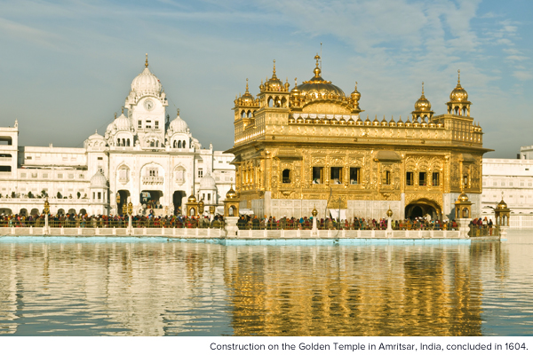Construction on the Golden Temple in Amritsar, India, concluded in 1604