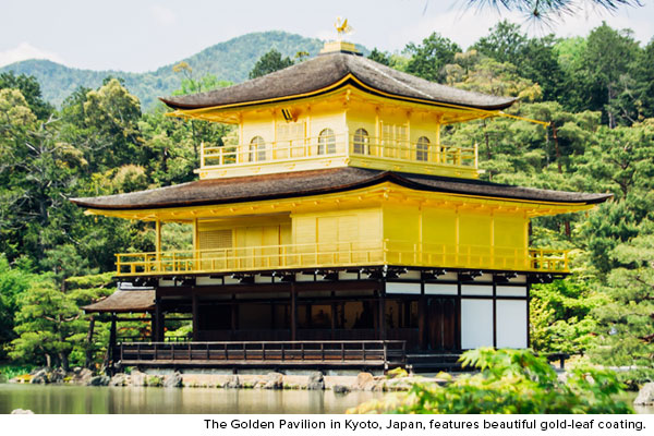 The Gold Pavilion in Kyoto, japan, features beautiful gold-leaf coating