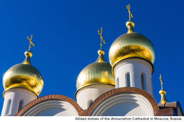 Gilded domes of the Annunciation Cathedral in Moscow, Russia