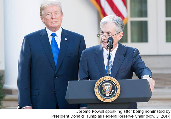 Jerome Powell nominated Donald Trump Novemeber 3 2017