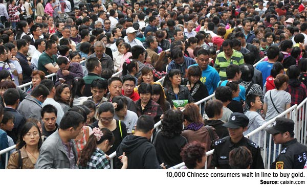 10,000 Chinese consumers wait in line to buy gold.