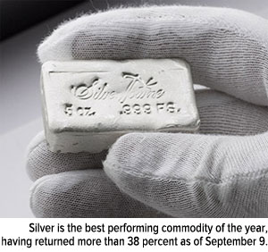 silver is the best performing commodity of the year having returned more than 38 percent as of September 9