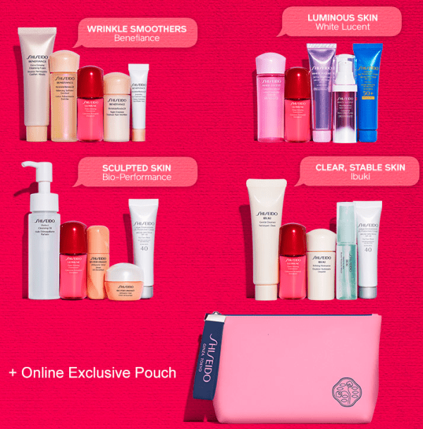 Shiseido gift with purchase – 6 pcs w/2 skincare(include $10 soap!) + 3 samples + free shipping