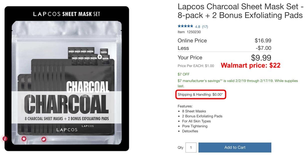 Costco com: Lapcos Charcoal Sheet Mask Set - 8-pack + 2